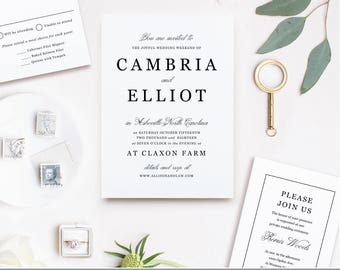 Wedding Invitation Template  | Classic Type | Print at Home or Online | Word or Pages | MAC or PC |  Instant DOWNLOAD