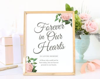 In Loving Memory Sign, Forever in Our Hearts, Printable Wedding Sign, Calligraphy Wedding Printable, Vintage Botanical | SUITE028