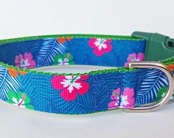 Blue Hawaiian Dog Collar / Summer Dog Collar / Floral Dog Collar