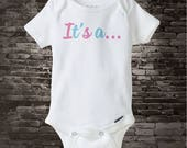 """Gender Reveal Onesie or Shirt,  the words """"It's a"""" in pink and blue letters with room for your child's handprint of the color 11042015c"""