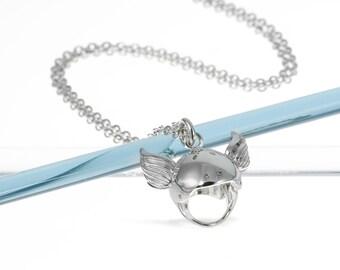 Silver Winged Roller Derby Helmet Necklace