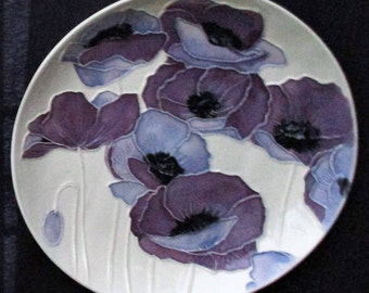 "7"" handmade ""Poppies, Poppies!"" uniquely textured wall hanging Ceramic Watercolor"
