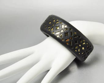 Wide Bangle Bracelet Vintage Chunky Black Leather Cuff Bracelet Gold Filigree