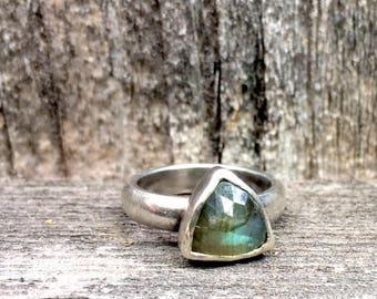 Silver Labradorite Ring, Geometric, Triangel, Whimsical Bohemian Metalwork Handmade in California
