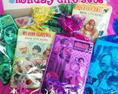 Holiday Anime Gift Set -  Keychain + Stickers + Buttons - Chibi Art BNHA | HXH | Naruto | Avatar +