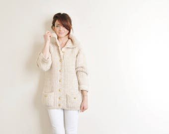 1960 bulky knit nautical cardigan . cream raglan sleeve sailor sweater .medium.large .sale