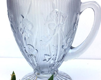 Vintage Jeanette Glass, Depression Glass,Crystal Clear Pitcher,Iris and Herringbone,1930s,Kitchen Dining,Floral,Footed,Collectible