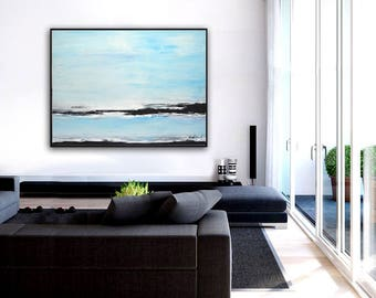 Large Blue Landscape Painting 30 x 40 Framed Contemporary Art Original Hand Painted Wall Art Design Decor Acrylic Painting by Sky Whitman