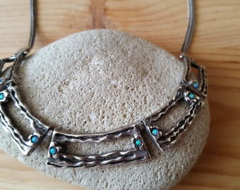 New Listing SALE...Gorgeous Welo Opal Sterling Silver 925 Oxidized Segment Collar Necklace. Sterling Opal Necklace. Welo Opal 925 Necklace