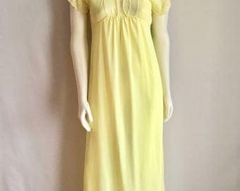 Vintage Sleepwear Women's 70's Yellow, Nightgown, Lace, Full Length (S)