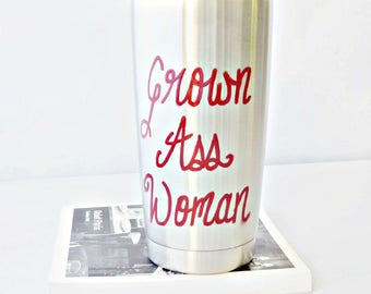 Funny Travel Mug, Coffee Mug With Lid, Grown Ass Woman, personalized, womens, ride or die, funny best friend gift, steel tumbler, insulated
