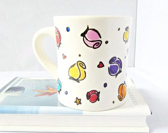 Floral Mug, Diner Mug, Ceramic, Unique, Rainbow, Coffee Cup, Tea, Personalized, Flower, Rosebud, Girlfriend, Gift for Her, Hearts, Stars
