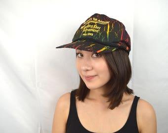 Vintage 80s Gun Neon Party Rainbow Snapback Hat