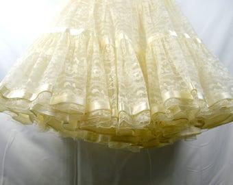 Vintage White Lace Crinoline Slip