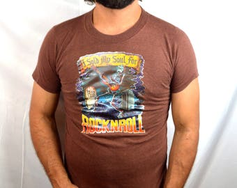 Authentic 1980s 1988 RARE Skeleton Vintage Bob Seger and the Silver Bullet Band 80s Tee Shirt