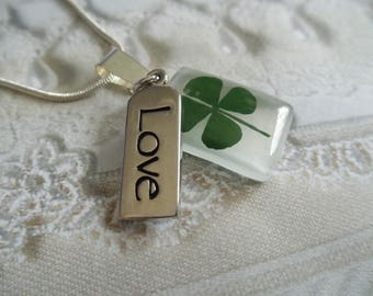 4 Leaf Clover White Cat's Eye Rectangle Pendant with LOVE Charm-Nature's Art-Gifts Under 30-Symbolizes Good Luck, Love, Hope and Faith