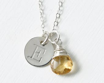 Personalized Initial Necklace with November Birthstone / Gifts for Teen Girls / Yellow Citrine Sterling Silver Pendant