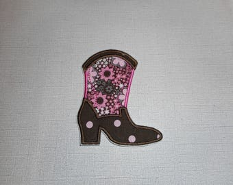 Free Shipping Ready to Ship Cowgirl boot Machine Embroidery iron on applique