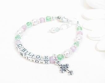 Baby Name Bracelet // Baby Bracelet // Baby Girl Bracelet // Little Girl Bracelet // Child Pink and Green Bracelet // Pink Pearls Cats Eye