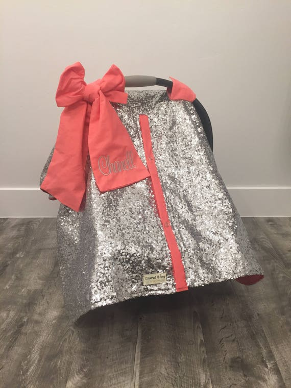 Silver and Coral sparkle with bow and name / carseat cover / carseat canopy / ooak / sequin / infant car seat cover / silver / sparkle