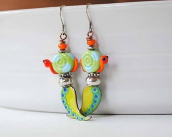 Snail Earrings, Colorful Earrings, Lampwork Glass Bead Earrings, Artisan Enamel Earrings, Leaf Earrings, Green Orange Earrings, Whimiscal