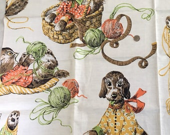 Vintage Juvenile Cotton Fabric Puppies Kittens 1950s SALE