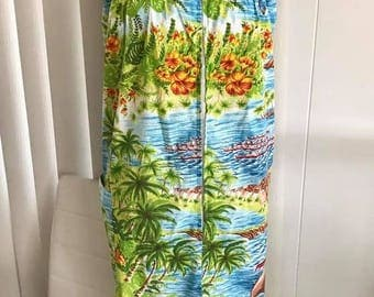 Fun in the Sun -- Vintage 1960's Zipper Front Tropical Hawaiian Dress -- Size XL