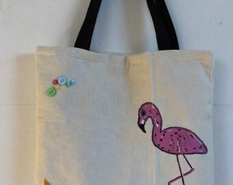 Tote Bag white Flamingo