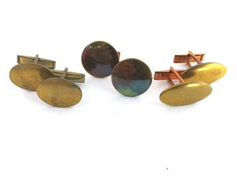 1 Pair Vintage 60s Cuff Links in 3 Different Styles to Choose From Round Sm Oval Lrg Oval Metal Irridescent Patina & Brass Color NOS
