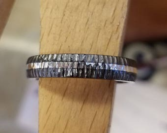 Black Titanium Wedding Band - Titanium Rings American Made Bands - Solid Sterling Silver Inlay