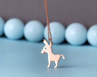 Tiny Solid Gold Donkey Necklace Farm Animal 14k solid Rose Gold Pendant pet necklace Rose Gold Gift
