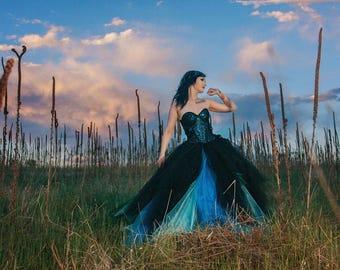 gothic wedding dress-blue and black dress-ombre wedding dress-black wedding dress-halloween wedding-cosplay wedding dress-goth-masquerade