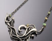 Ethiopian Opal, Fine Silver Necklace, Sterling Silver - Tempest