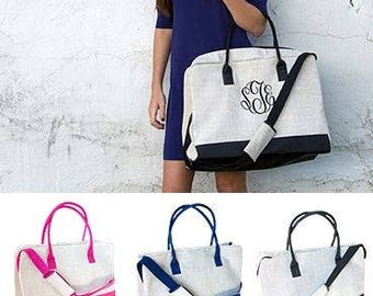 Ladies Monogrammed Weekend Tote Bag with a 4 inch Embroidered Monogram in 3 Modern Duffel Bag Colors