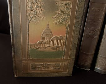 Vintage History of the United States Book Set - 13 Brown Green Gold Book Collection - Books by the Foot