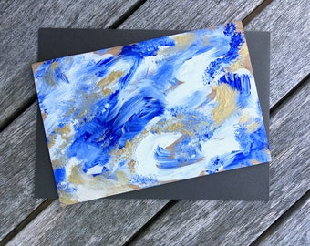 Hand-Painted Wood Greeting Card- blue, white & metallic gold