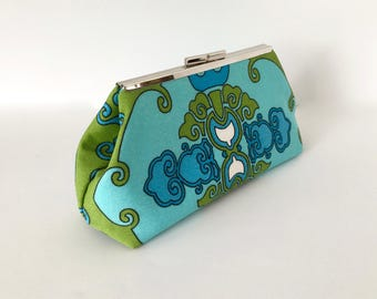 Blue clutch, green clutch, resort clutch, summer clutch, modern clutch, outdoor fabric, Trina Turk fabric by Schumacher