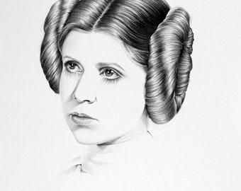 Carrie Fisher Original Pencil Drawing Minimalism Fine Art Portrait