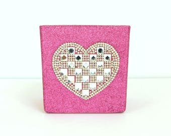"""Bright Pink, Hot Pink Glittered 4"""" x 4"""" Square Glass Vase with Rhinestone Heart Applique, Makeup Brush Holder, Home Decor"""