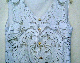 80s BALI cutwork CROP TOP / crochet mesh blouse, size m - l
