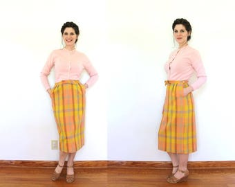 Plaid Pencil Skirt / 1960s Skirt / 60s Skirt / 1960s Orange and Peach Plaid Wool High Waisted Pencil Skirt