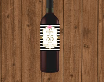55th Anniversary Wine Label, Cheers to 55 Years Wine Label, Personalized Wine Label, Black White Striped 55th Wine Label, Floral 55th Wine