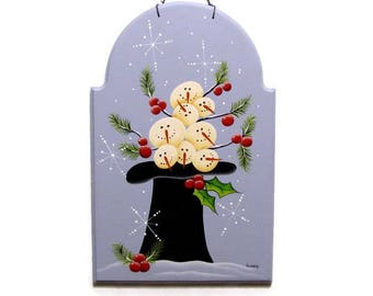Hat Full of Prim Snowmen Plaque,  Handpainted Wood Sign, Hand Painted Winter Primitive Home Decor, Wall Art, Tole Decorative Painting