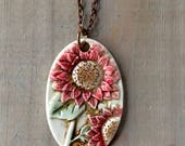 Sunflower Necklace-Porcelain Jewelry-Kim OHara Designs-Ceramic Jewelry