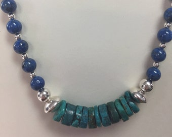 Natural BLue Lapis and Turquoise Long Strand Necklace w/Sterling Silver Accents