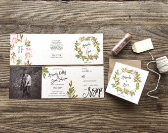Wedding Invitations · Custom Wedding Suite · Tri-Fold Greenery with Photo - All in One Wedding Invitation  (215)