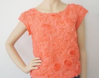 M - Coral Rose Blouse | Lace blouse | Box Blouse | Coral Blouse | Sheer Blouse | Floral Blouse | Medium Top