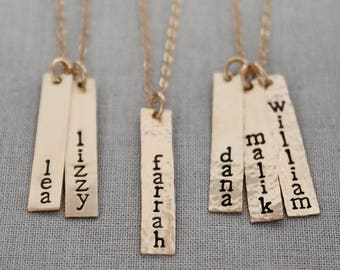 Mothers Name Necklace, Vertical Bar Necklace, Gold Name Necklace, Mothers Necklace, Gold Filled Nameplate for Mom