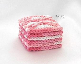 Face Scrubbies, Cotton Facial Scrubbie, Facial Cleansing Pads, Reusable Cotton Cosmetic Pads, Set of 6 Pinks
