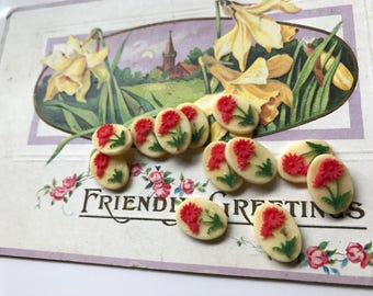 6 Rose Cabochons,Shabby chic Vintage cabochons,10x14mm Floral cabochons, Rose cabochons,Flowers Cabochons Red,green NOS. #1035A